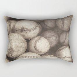 Bucket of Old Baseballs in Sepia Rectangular Pillow