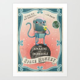 The Amazing Space Monkey Art Print