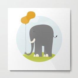An Elephant With a Peanut Balloon Metal Print