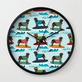 Chocolate Labrador surfing dog breed pattern Wall Clock