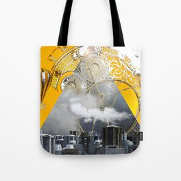 Abstract Collage City Clocks Tote Bag