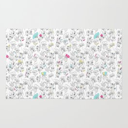 pattern with floral elements. summer peonies flower and leaf elements. Rug