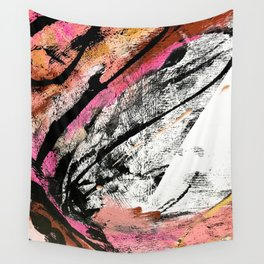 Motivation: a colorful, vibrant abstract piece in pink red, gold, black and white Wall Tapestry