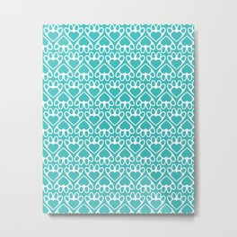 Paw Prints on my Heart - in Cyan Metal Print