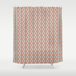 Coral Diamond Stripe Pattern Shower Curtain