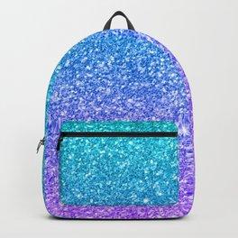 Purple and Emerald Green Gradient Glitter Print Backpack