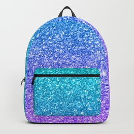 Purple and Emerald Green Gradient Glitter Print Backpack