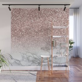 Sparkle - Glittery Rose Gold Marble Wall Mural