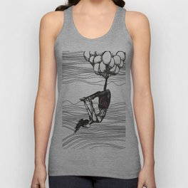 surreal aerial yoga scene // black, white, pink Unisex Tank Top