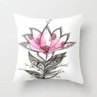 lotus flower Throw Pillows featuring Lotus by Himadri Pachori