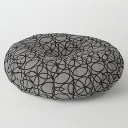 Pantone Pewter and Black Rings, Circle Heaven 2, Overlapping Ring Design Floor Pillow