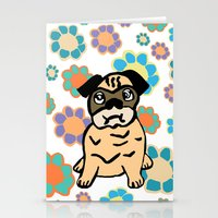 hippy Stationery Cards featuring Hippy Pug  by lindseyclare