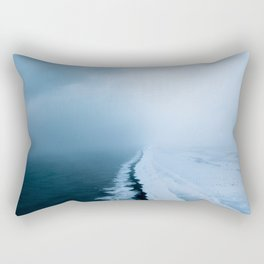 Infinite and minimal black sand beach in Iceland - Landscape Photography Rectangular Pillow