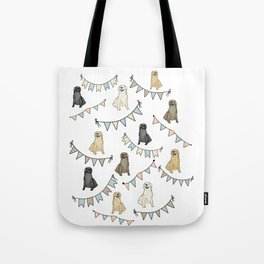 Golden Retrievers and Banners pattern Tote Bag