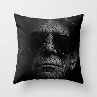 lou reed Throw Pillows featuring LOU REED, SO FREE. by Robotic Ewe