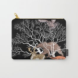 Print with forest animals and tree. Carry-All Pouch