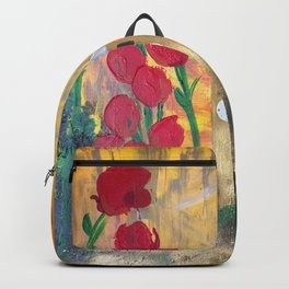150 Years of CU - An Alumni Anniversary Tribute with Red Tulip Flowers Backpack