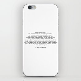 It's Never Too Late- F. Scott Fitzgerald Quote iPhone Skin