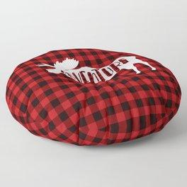 Red Buffalo Plaid Moose ADVENTURE typography Floor Pillow