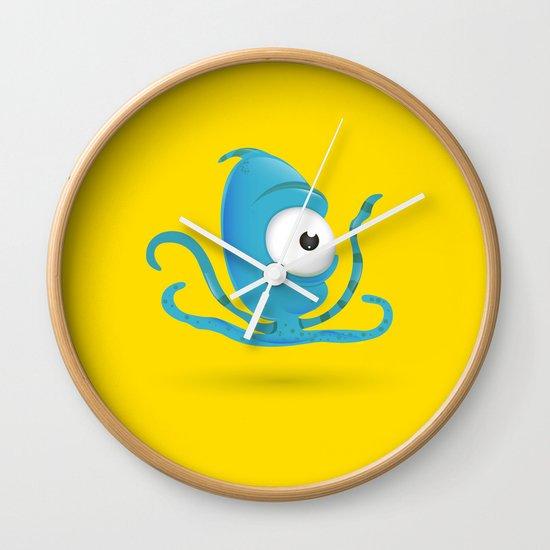 Octopus Blue/Yellow Wall Clock