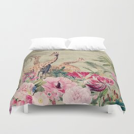 Vintage & Shabby Chic - Tropical Animals And Flower Garden Duvet Cover