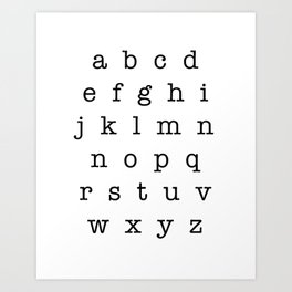 Type Alphabet Lowercase Sign Art Print