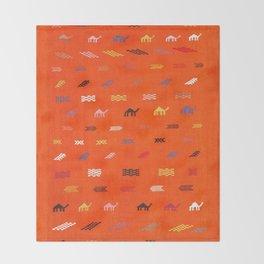 N44 - Moroccan Camels Bohemian Traditional Artwork Sahara Style Throw Blanket