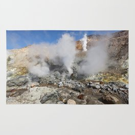 Hot springs, fumarole in crater active Mutnovsky Volcano on Kamchatka Peninsula Rug