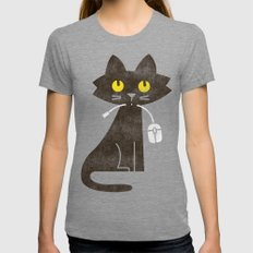 Fitz - Hungry hungry cat (and unfortunate mouse) Womens Fitted Tee Tri-Grey MEDIUM