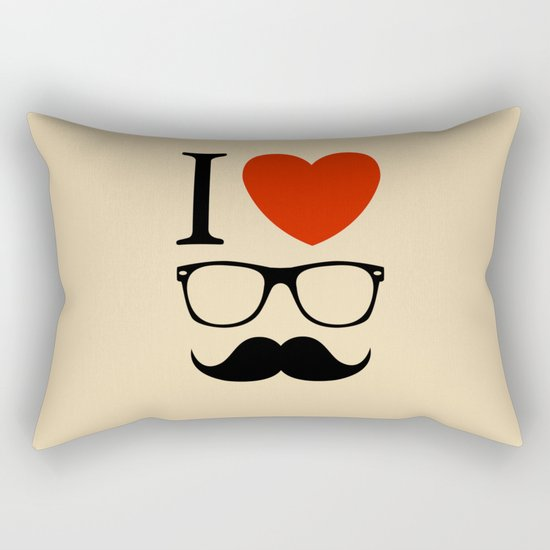 I love glasses and mustaches Rectangular Pillow