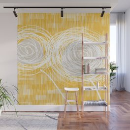 Yellow Doodle Floral by Friztin Wall Mural