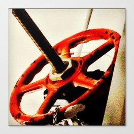 Red Plumbing Wheel Photography Canvas Print