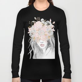 She Wore Flowers in Her Hair Rose Gold by Nature Magick Long Sleeve T-shirt