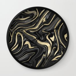 Black Gray White Gold Marble #1 #decor #art #society6 Wall Clock