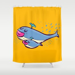 Whale & son / ballena e hijo  Shower Curtain