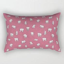 Indian Baby Elephants in Pink Rectangular Pillow