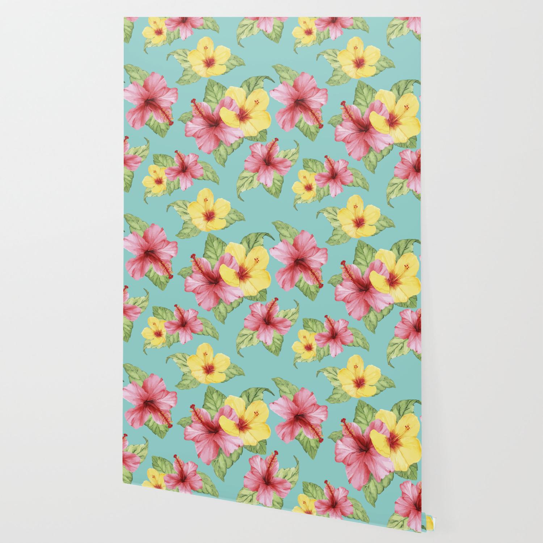 Tropical Hawaiian Hibiscus Floral Print Wallpaper