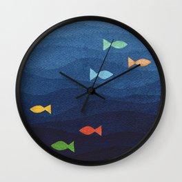 Coloured fish say hooray Wall Clock