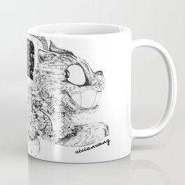 Studio Ghibli Cat Bus Black & White Zentangle Drawing Doodle Coffee Mug