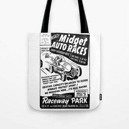 Midget Auto Races, Race poster, vintage poster, bw Tote Bag