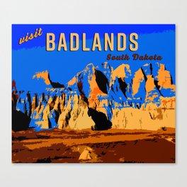 Visit Badlands Retro Postcard Canvas Print
