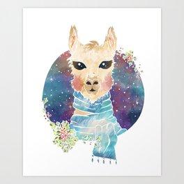 Holiday Llama Art Print