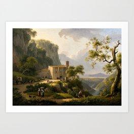 Marin VERSTAPPEN (1773 -1853)Vue couvent dans la campagne romaine Art Print