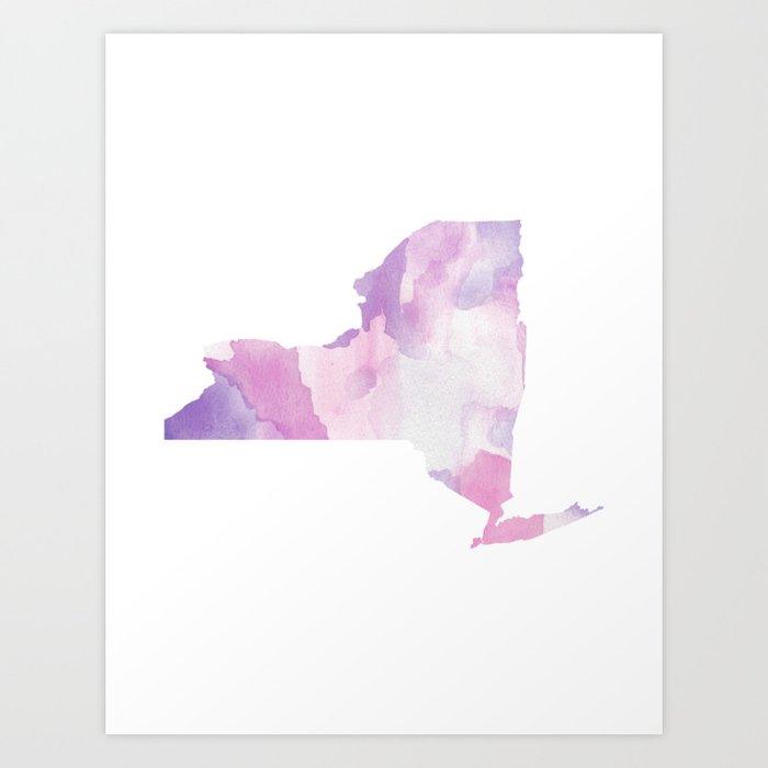 Watercolor State Map - New York NY purples Kunstdrucke
