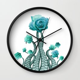 Blue Rose with Octopus Tentacles Art Print Wall Clock