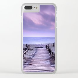 """To the beach...."" Purple sunset Clear iPhone Case"