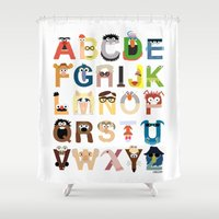 kids Shower Curtains featuring Muppet Alphabet by Mike Boon