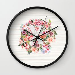 Initial Letter X Watercolor Flower Wall Clock