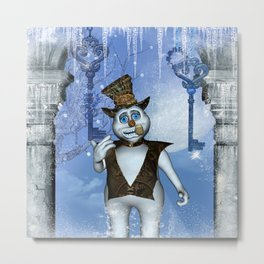 Funny steampunk snowman Metal Print