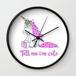 Ice Cream Unicorn - Tell me I'm Cute Wall Clock